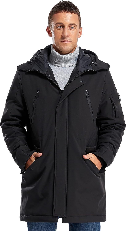Molemsx Men's Classic Hooded Puffer Parka Jacket Mens Warm Winter Coat