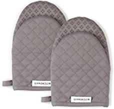 KitchenAid Asteroid Mini Cotton Oven Mitts with Silicone Grip, Set of 2, Gray 2 Count