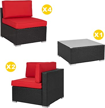 SUNLEI 7pcs Patio Outdoor Furniture Sets Conversation Set,Low Back All-Weather Rattan Sectional Sofa with Tea Table&Washa