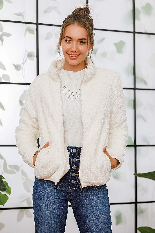Les umes Damen-Sweatshirt, Fleece, mit Reißverschluss, leicht, Sherpa-Outwear, Mantel mit Taschen Weiß
