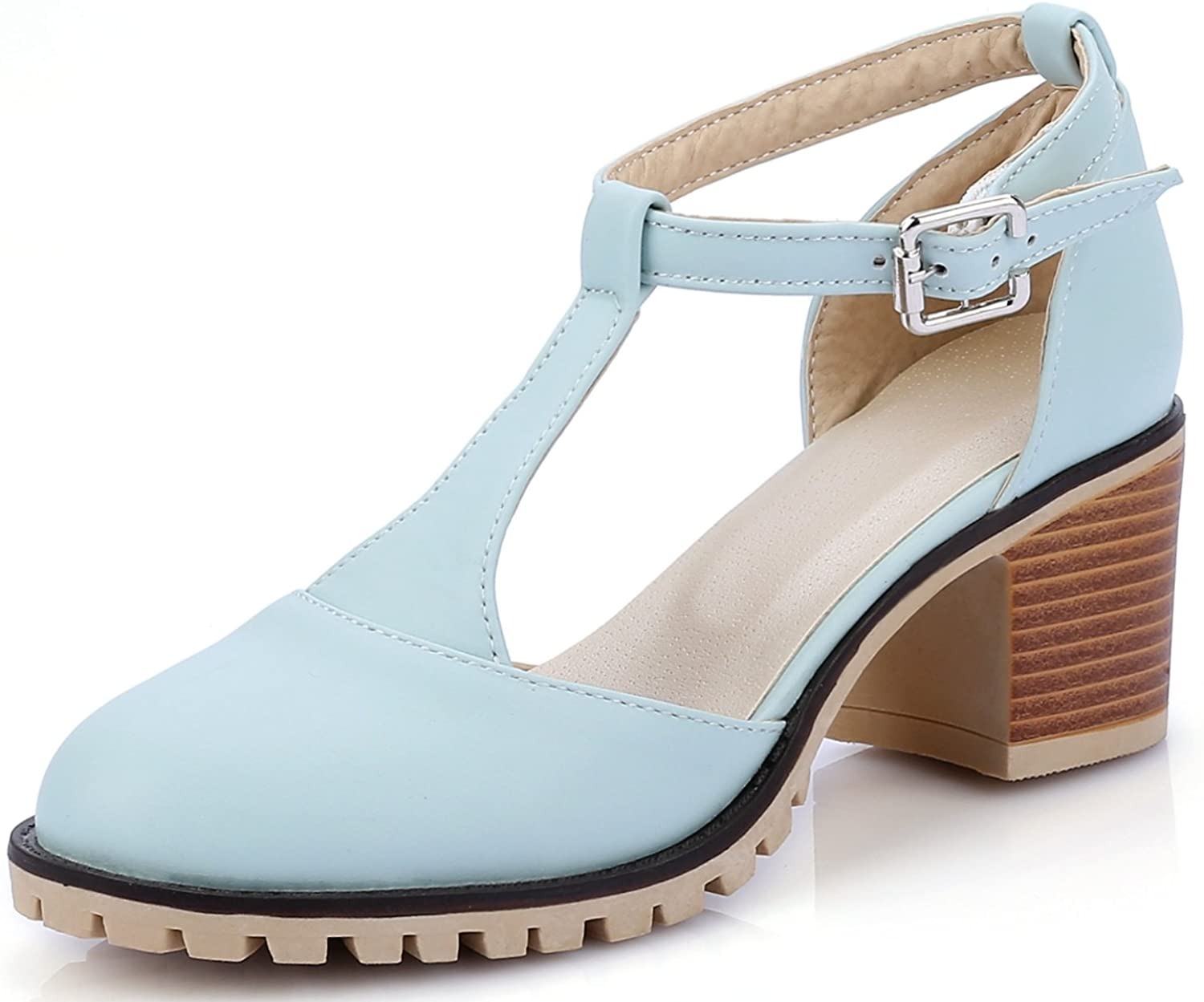 DoraTasia Women's Casual Round Toe Ankle Buckle T-Strap shoes Sweet Chunky Heel Ankle High Leather Mary Jane shoes