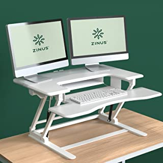 Zinus Betsy Smart Adjust Standing Double Desk / Adjustable Height Desktop Workstation, White