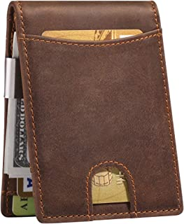 RFID-Blocking Men's Bifold Leather Wallet With Detachable Money Clip