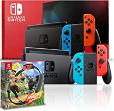 Nintendo Switch with Neon Blue and Red Joy-Con Bundle with Ring Fit Adventure
