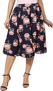 FabnFab Digital Rose Print Mid Calf Length Women Panel Polyester Skirt