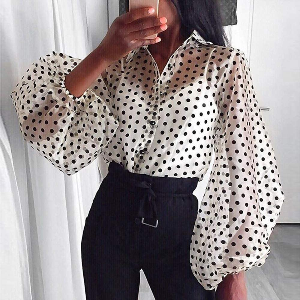 Mujer Camiseta de Lunares - Manga Larga Blusa con Botones ...