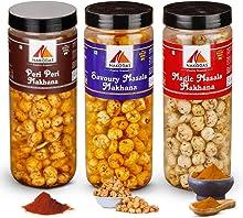 N Nakodas Roasted Makhana Combo - Peri Peri, Savoury Masala, Magic Masala Fox Nuts (70gm Each, Pack of 3)