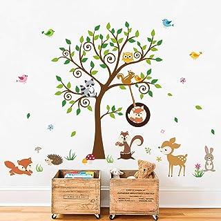 decalmile Stickers Muraux Animaux Forêt Arbre Autocollant Mural Renard Écureuil Cerf Décoration Murale Chambre Enfants Béb...