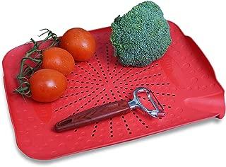 Premium Flat Kitchen Sink Colander By OVLAS |Dishwasher Safe BPA-Free Plastic Colander | Extra Fruit & Vegetable Peeler (Red)