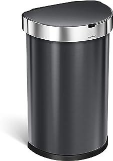 simplehuman 45 Liter / 12 Gallon Semi-Round Sensor Automatic Trash Can, Black Stainless Steel