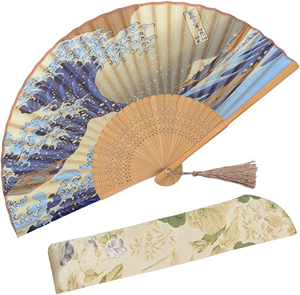 OMyTea Landscape 8 27 21cm Folding Hand Held Fan With A Fabric Sleeve For Protection For Gifts Japanese Vintage Retro Style Kanagawa Sea Waves