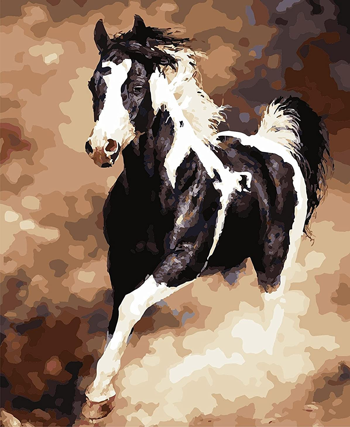 LB DIY Oil Painting for Adults Kids Paint By Number Kit Digital Oil Painting Horse 16X20 Inches