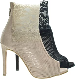 Sock Floral Lace Fabric Ankle Bootie On High Heel & Peep Toe