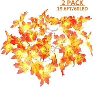 MAOYUE Fall Decorations 2 Pack Lighted Fall Garland 19.6 Ft 60 LED Waterproof Autumn Leaf Garland, Battery Operated Fall String Lights with 8 Modes for Halloween, Thanksgiving, Outdoor Autumn Decor