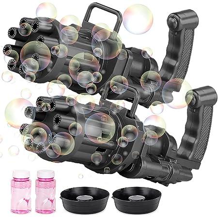 Bubble Gun (2 pcs), Bubble Gatling Gun, 2021 Bubble Machine for Kids, 8-Hole Bubble Blower Automatic Bubble Maker Machine, Electric Bubble Gun Toy for Boys Girls Kids Toddlers Outdoor (Black)