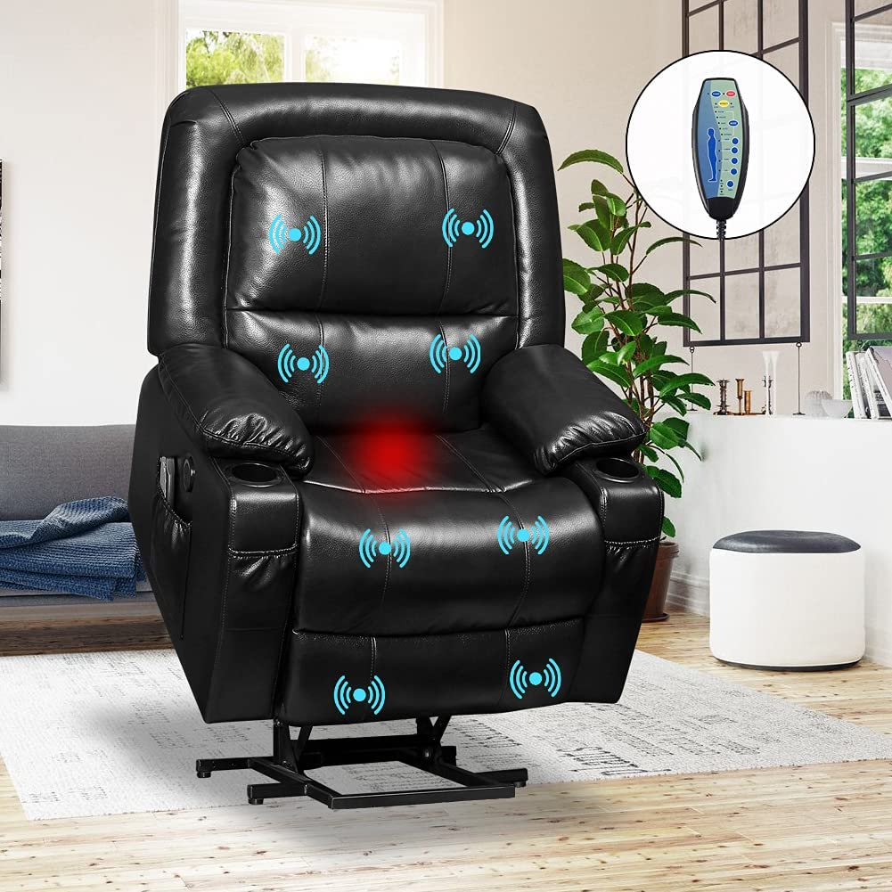 VUYUYU Power Lift Chairs Recliners - Breath Leather Recliner Chair for Elderly - Heated Vibration Massage Sofa for Living Room, 3 Positions, 4 Pockets and 2 Cup Holders (Black - Style B)