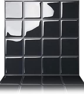 Tic Tac Tiles Peel and Stick Self Adhesive Removable Stick On Kitchen Backsplash Bathroom 3D Wall Sticker Wallpaper Tiles in Big Square Black