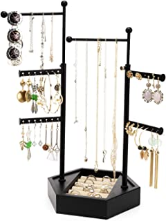 Emfogo Jewelry Organizer Tree Stand - 6 Tier Jewelry Holder Stand with Adjustable Height Necklace Organizer Display for Earrings Ring Bracelet (Black)