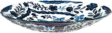 Evergreen Garden Blue Patterned Embossed Glass Bird Bath - 18 x 2 x 18 Inches, 64oz Outdoor Décor for Your Garden, Patio or L
