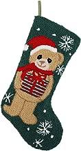 "Alice Doria 21"" Handmade Hooked Bear Christmas Stocking with Beautifully Detailed Pattern"