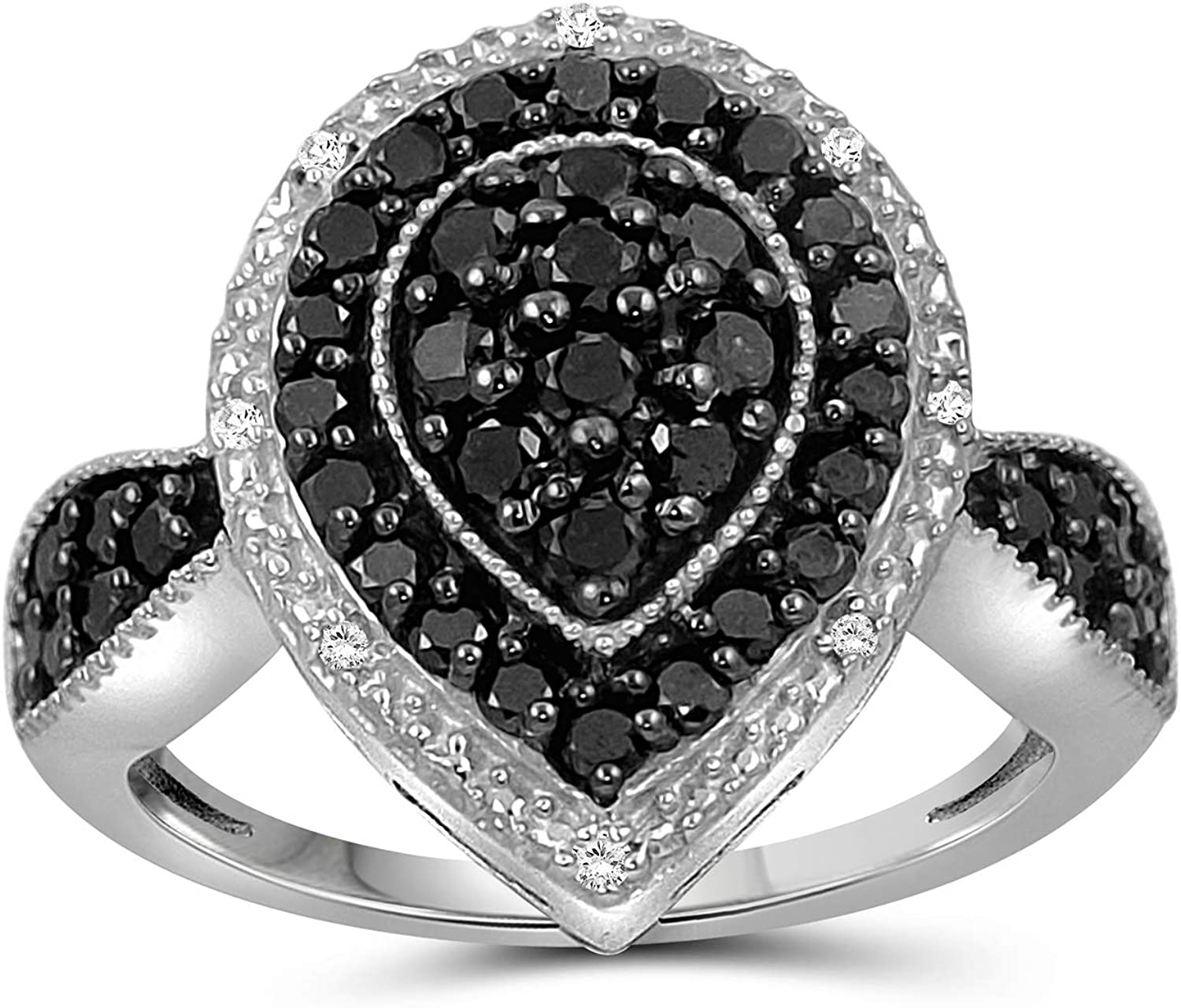 JEWELEXCESS Sterling Silver 1 Over item handling Carat White f Black Ranking TOP1 Ring Diamond