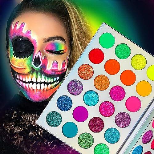 Palette Fards à Paupières Glow in Dark-Neon Luminous Glitter 24 Couleurs,Afflano Pigmented UV Glow Blacklight Fluores...