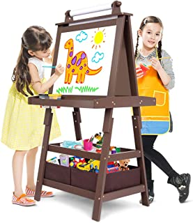 Costzon Kids Art Easel, 3 in 1 Double Durable Sided Art Easel with Chalk Board & Paper Roll, Two Storey Storage Space with Two Storage Bins, Large Capacity Tool Tray, Espresso