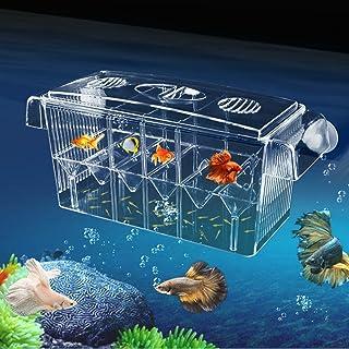 産卵箱 アクリル 水槽用 孵化 Zyurong インキュベーター フローティング 4つの隔離空間 取り外し可能 魚の繁殖 分離 飼育箱 給餌口付き 水族館アクセサリー