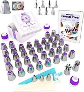 Cake&Deco Russian Piping Tips Set – 92pcs Cake Decorating Baking Supplies Kit with Gift Box for Storage - 49 Premium Russian Tulip Icing Piping Ruffle Nozzles – Cupcake Flower shaped frosting nozzles