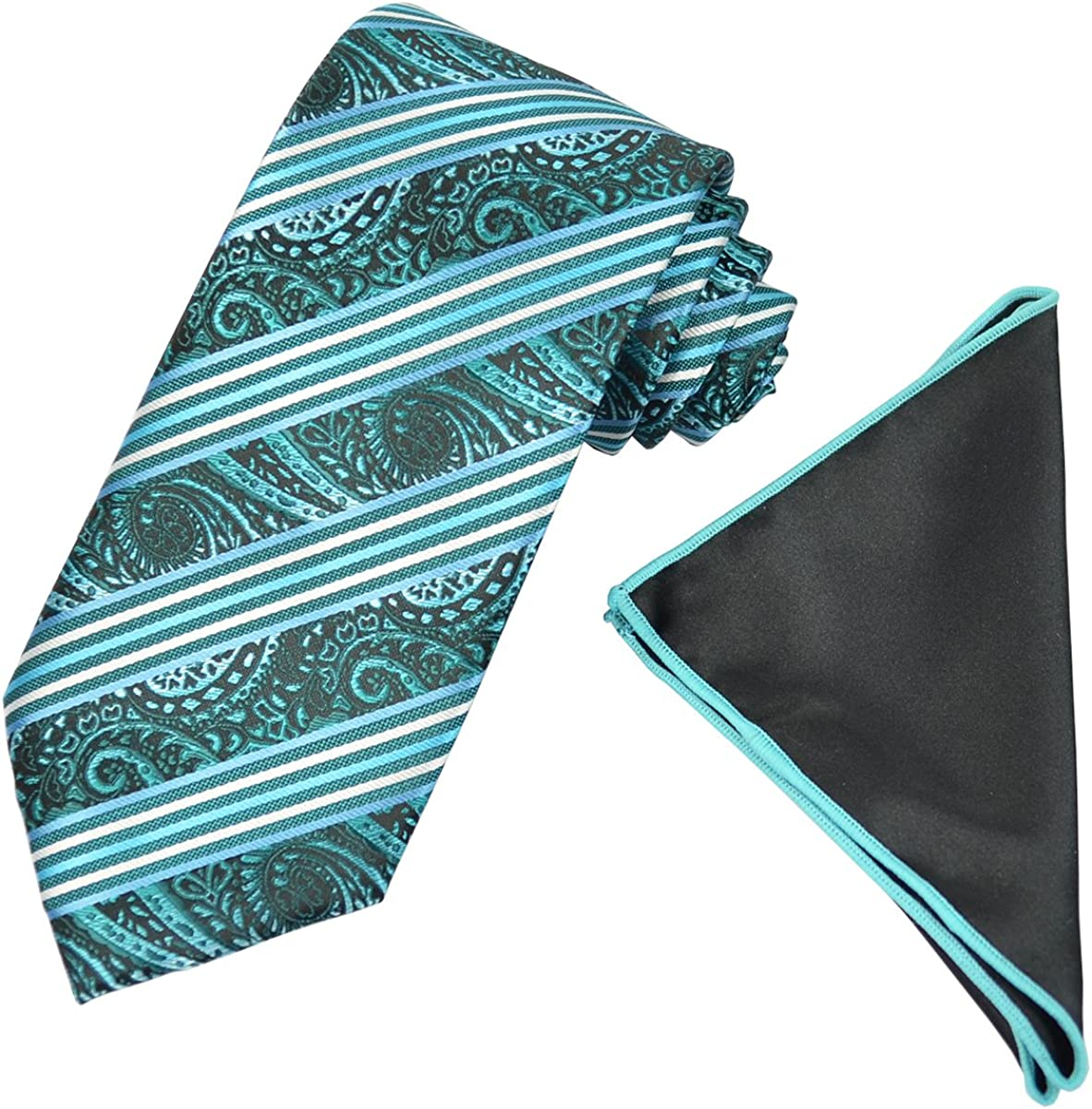 Turquoise Striped Men's Tie and Pocket Square Set