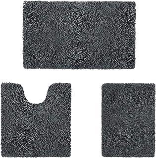 HOMEIDEAS 3 Pieces Bathroom Rugs Set Ultra Soft Non Slip and Absorbent Chenille Bath Rug, Charcoal Christmas Bathroom Rugs...