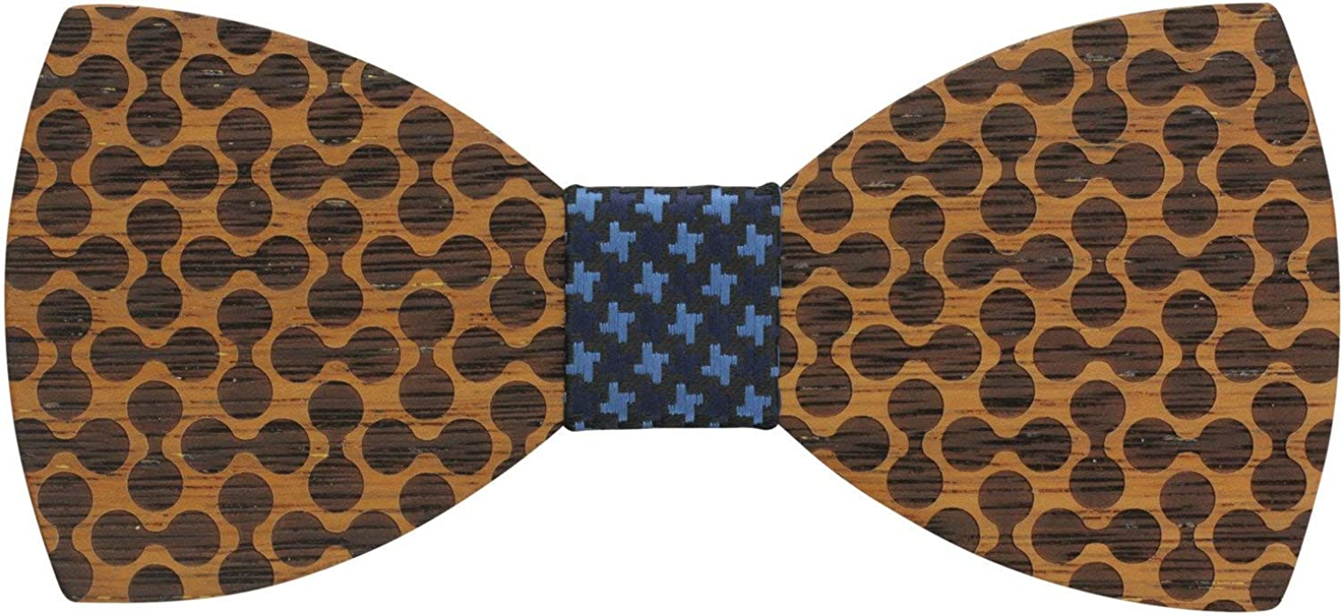 Large Round Zebrawood Bow Tie with Adjoining Circular Design with Fabric Center