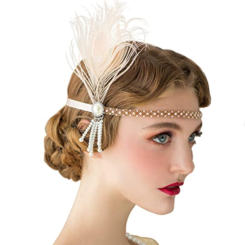 SWEETV 1920s Headband Flapper Headpiece, The Great Gatsby Inspired Costume Party Accessories Roaring 20s Accessories for Women