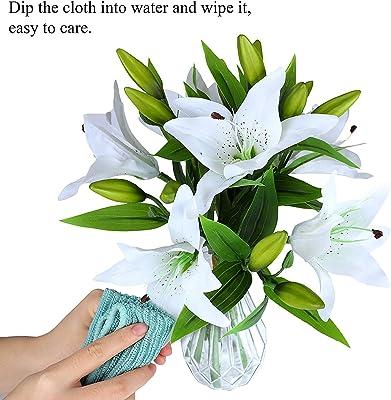 Iceblueor Lot de 6 lys artificiels en latex au toucher réaliste pour la maison, les mariages, les fêtes, les vases
