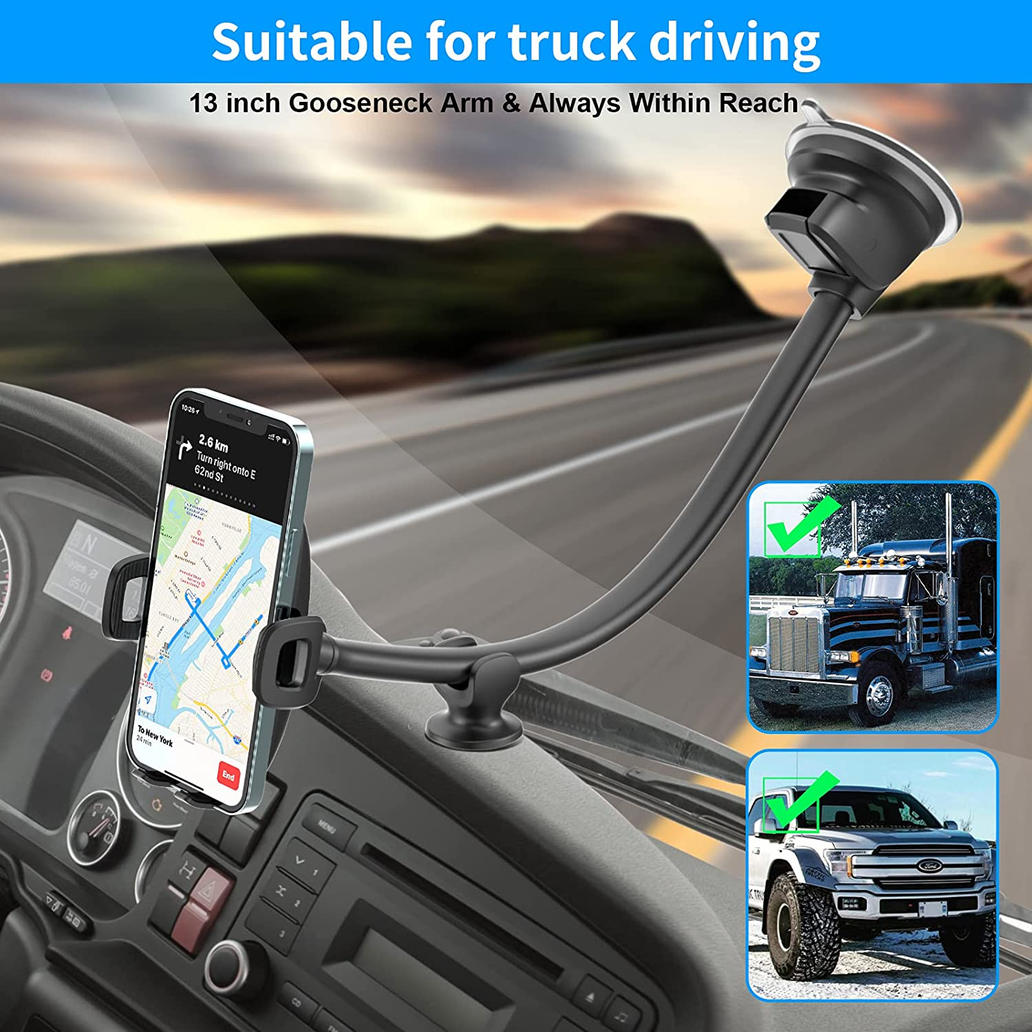 APPS2Car Windshield Phone Mount for Toyota Tundra