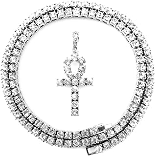 HH Bling Empire Mens Iced Out Hip Hop Gold Artificial Diamond Ankh Cross Pendant cz Tennis Chain 22 Inch