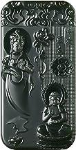 China Natural Hetian Green Jade Nephrite Carved Kwan Yin Goddess Pendant Amulet (Kwan Yin & Amitabha & Maitreya Buddha)