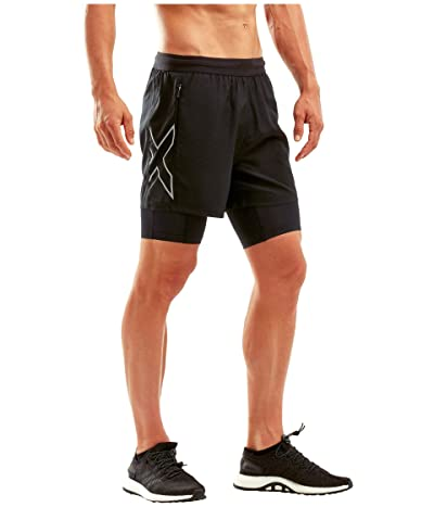 2XU XVENT 5 2-in-1 Compression Shorts (Black/Silver Reflective) Men