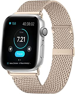 HILIMNY Compatible for Apple Watch Band 38mm 40mm 42mm 44mm, Stainless Steel Mesh Sport Wristband Loop with Adjustable Magnet Clasp for iWatch Series 1, 2, 3, 4, 5