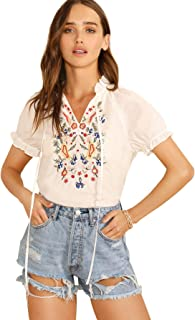 Best white embroidered blouse Reviews