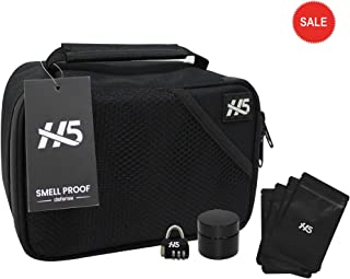 Smell Proof Bag Set by Hybrid 5. Odor Proof Dog Tested Bag Plus Smellproof Container, 4X Resealable Pouch Baggies and Combo Lock - Smell Proof Case/No Scent Travel Storage Stash Box