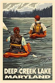 "Deep Creek Lake Maryland Kayakers Giclee Art Print Poster from Original Travel Artwork by Artist Paul A. Lanquist 12"" x 18"""