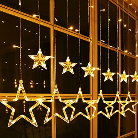 Estrella Navidad Luminosa, Luces Led Decorativas Habitación 2.5M 138 Bombillas Estrellas Guirnalda de Luces de Cadena para Exterior Interior en Casa Jardín Patio Balcón Ventana para Festival Fiesta
