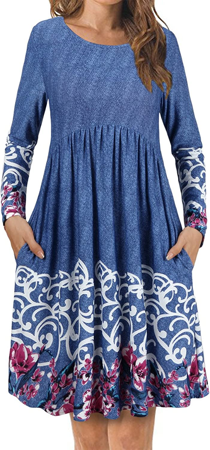 FANSIC Women's T Shirt Dress with Pockets,Long Sleeve Floral Pleated A Line Swing Dress