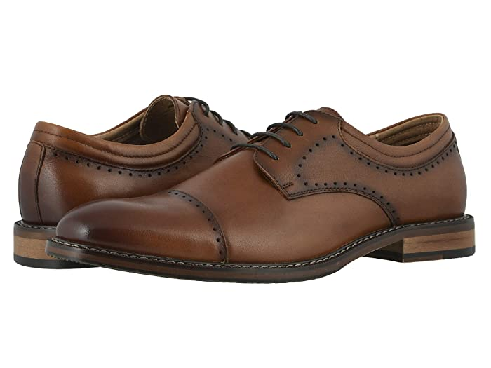 1920s Boardwalk Empire Shoes Stacy Adams Flemming Cap Toe Oxford Cognac Mens Shoes $77.13 AT vintagedancer.com