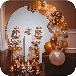 tthappy76 Metal Flower Round Wedding Arch Party Decoration Road Leads Flower Backdrop Frame Wedding Background Stand,Gold Color,1.2 Meter Diameter