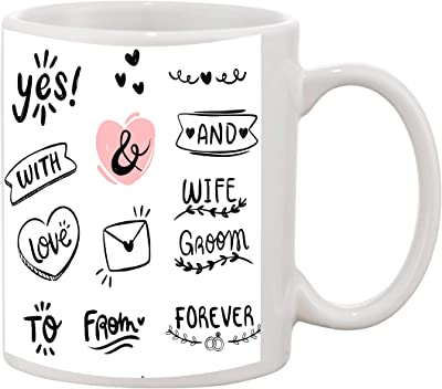 Vedanshi White Ceramic Forever Love with yes Printed Mug Capacity 330 ml Pack of 1