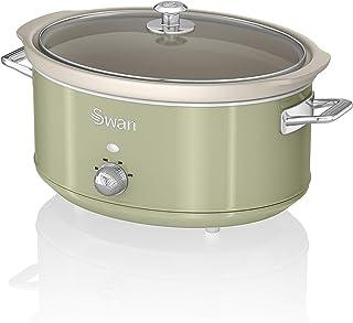 Swan SF17031GN Olla de cocción lenta retro de 6.5 litros con olla de cerámica extraíble, 3 configuraciones de calor - Incluye libro de recetas, 320w, verde