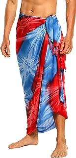 1 World Sarongs Men's Tie Dye Sarong Chakra Chakra Pink red purple blue 28 One Size Fits Most