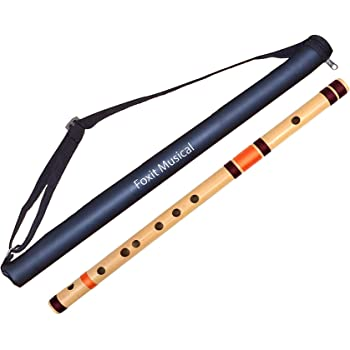 Foxit Bamboo Flutes C Natural 7 Hole Bansuri Size 19 inches (With Free Carry Bag)